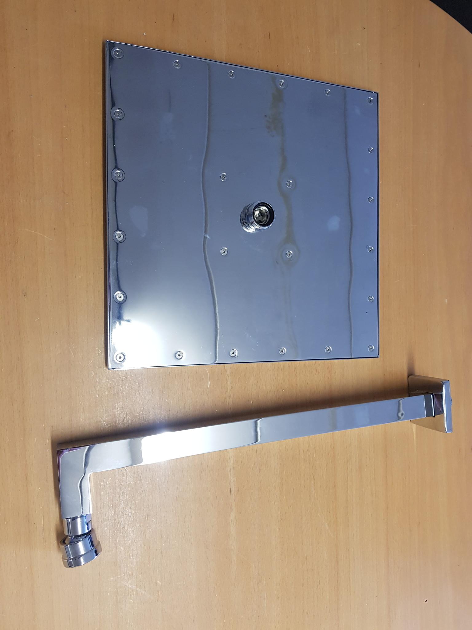 Regendouche vierkant met wandhouder verchroomd 30cm