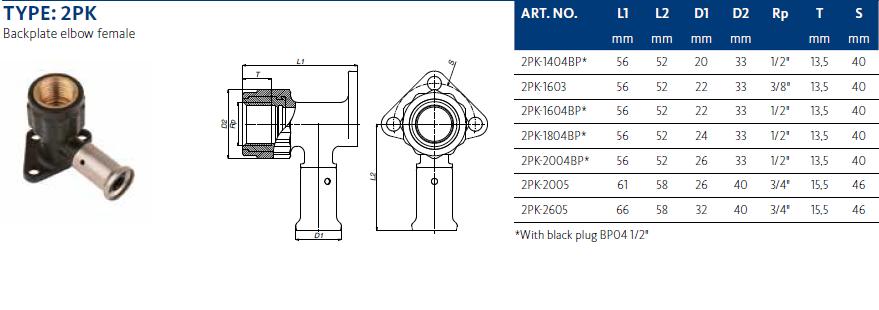 Henco pers muurplaat 16 x 3/8  binnen 56mm