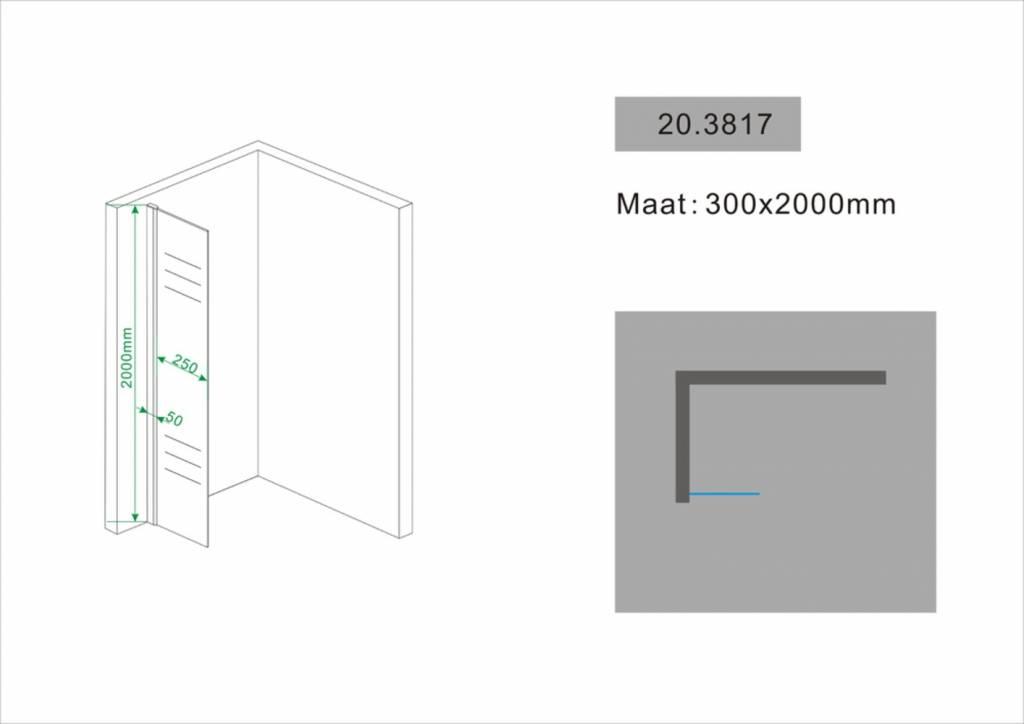 Wiesbaden Zijwand + muurprofiel 300x2000 10mm NANO glas