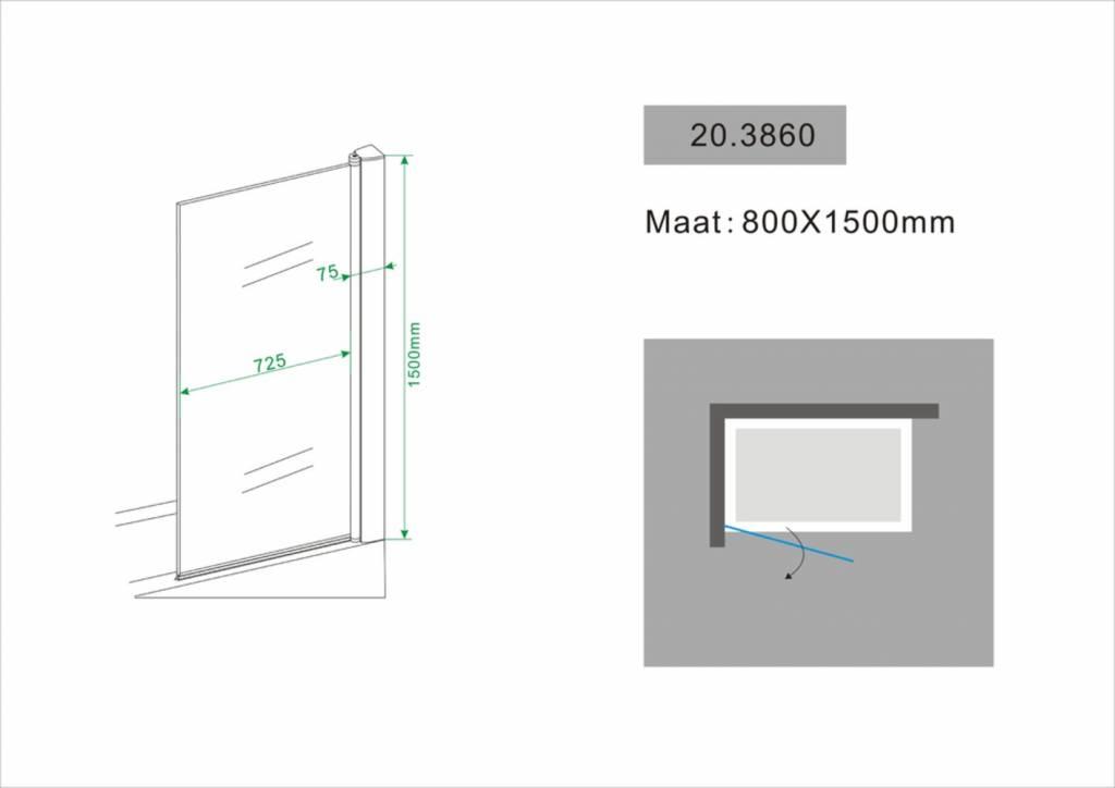 Wiesbaden Badwand 800x1500 6mm NANO chroom