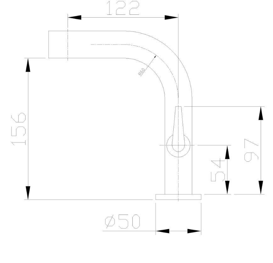 Wiesbaden Alpha toiletkraan staand plat  chroom