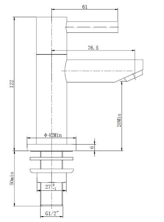 Wiesbaden Amador KIWA Toiletkraan Ker. 1/2 geborsteld staal