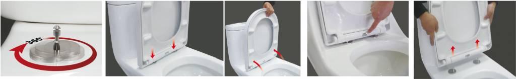 Wiesbaden DeeLine toiletzitting + deksel one-touch wit
