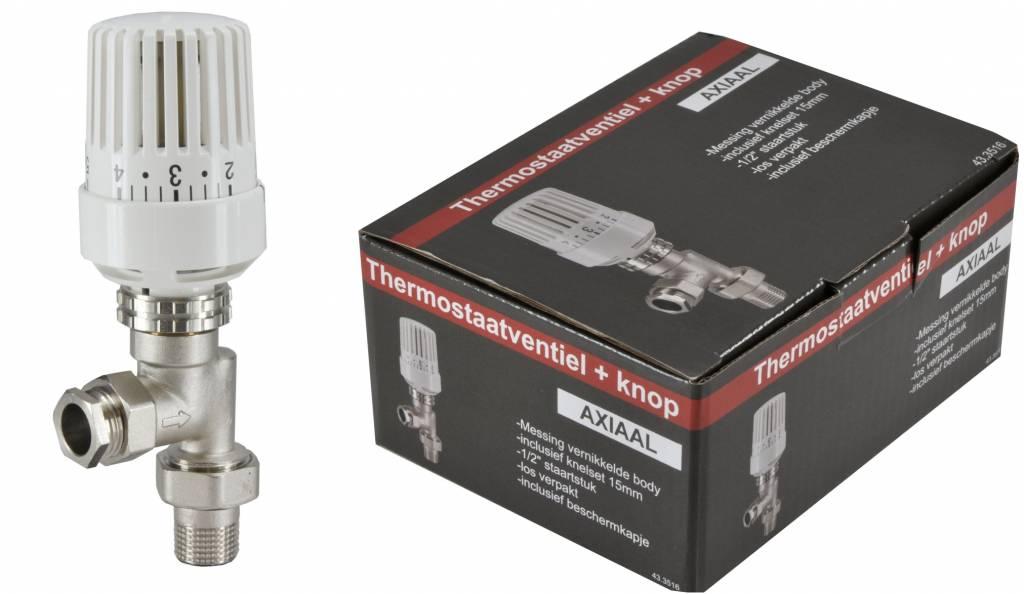 Riko Riko thermostatische radiatorkraan + knop inc. adapter 15mm 1/2 haaks verkeerd