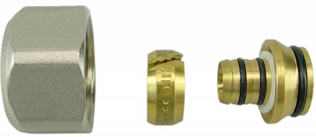 Riko Riko adapter 16x2 - 3/4 euroconus vernikkeld