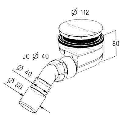 Saniglow Turboflow douchebaksifon voor gat 90mm chroom