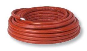 Henco alupex buis 16x2 met isolatie rood 10mm, rol 50m