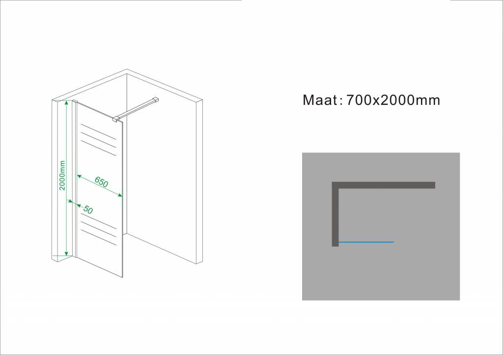 Wiesbaden Inl.douche + muurprof. 700x2000 10mm NANO ged.matglas