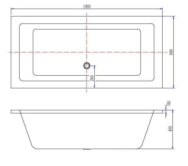 Wiesbaden Santino SQ inbouw ligbad 190*90*49 cm wit DUO