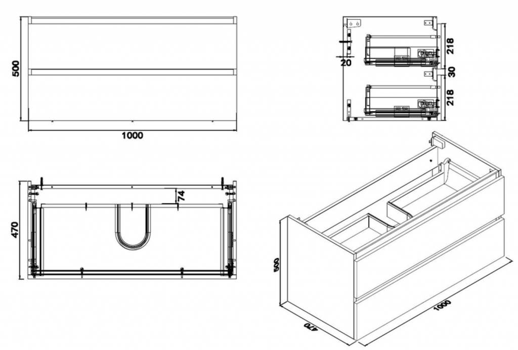 Wiesbaden Vision losse onderkast+2 laden 100x47 houtnerf grijs