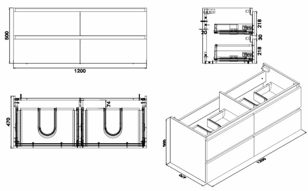Wiesbaden Vision losse onderkast dubbel+4 laden 120x47 houtnerf grijs