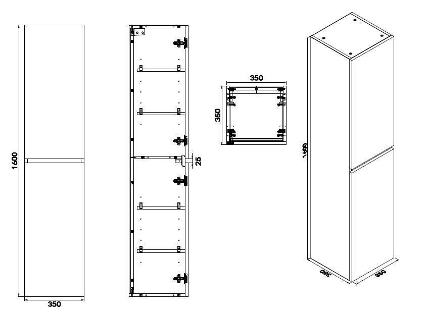 Wiesbaden Vision kolomkast 2 deuren 160x35x35 wit