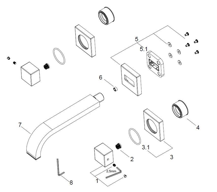Wiesbaden Rombo 2-knops wastafel-afbouwdeel  geb.staal