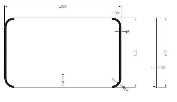 Wiesbaden Bracket dimbare LED condensvrije spiegel 1000x600