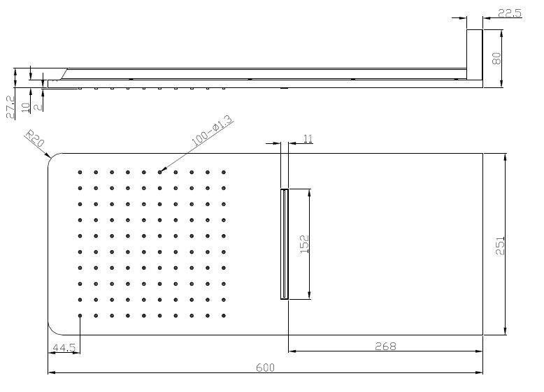 Wiesbaden Wiesbaden luxe vierkante wand-hoofddouche+waterval 600x25 chr