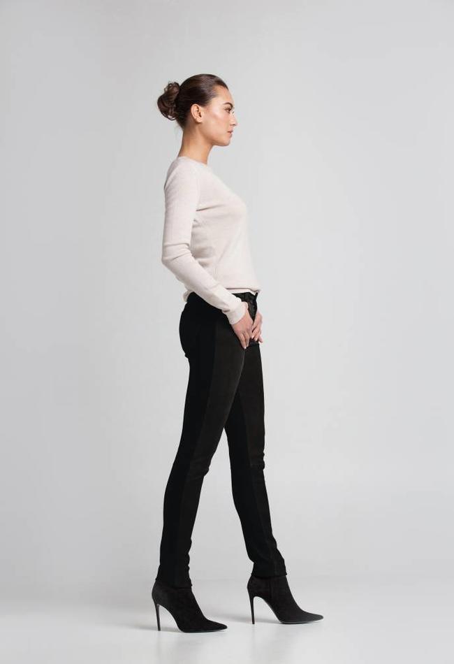 ZINGA Leather Echt Lederhose Damen Velour Schwarz | Felice 4999