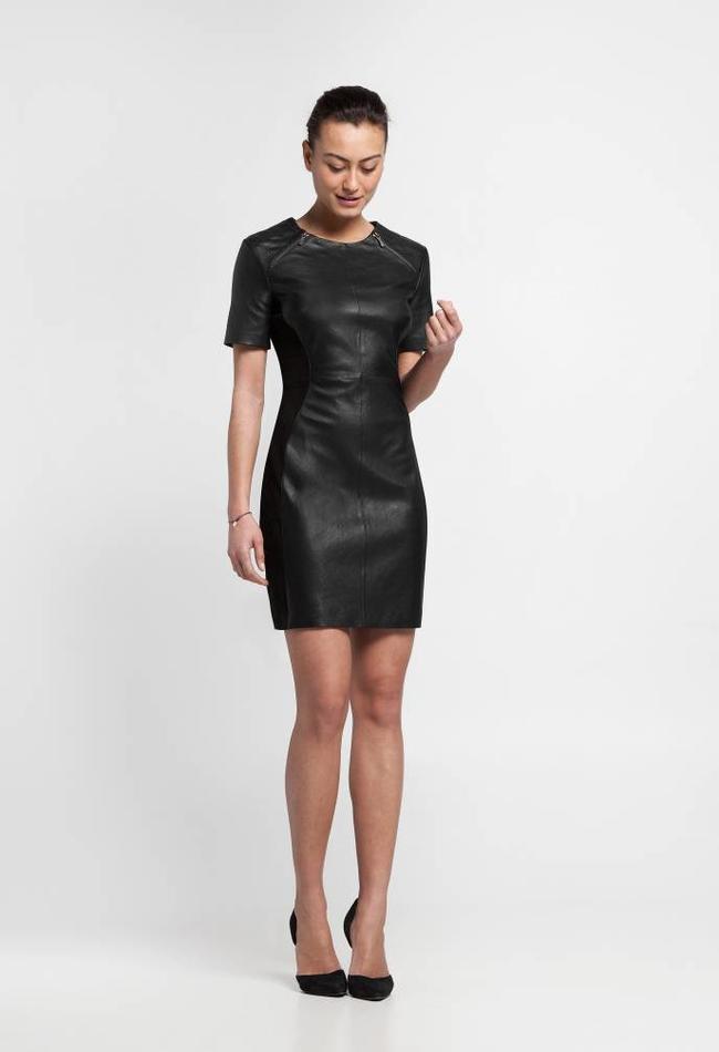 ZINGA Leather Echt Lederkleid Damen Schwartz   Hera 6999