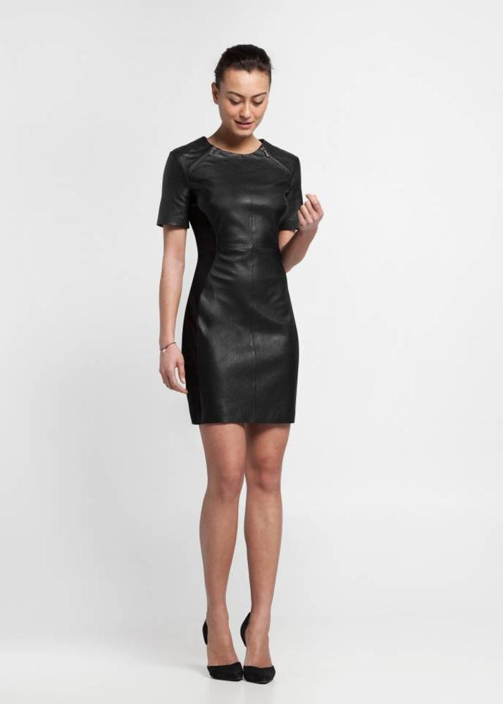 Black Stretch Leather Dress