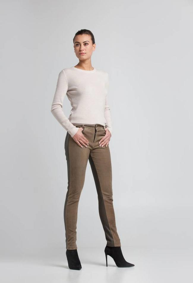 ZINGA Leather Echt Lederhose Damen velour Grun| Felice 4820