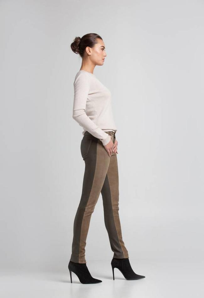 ZINGA Leather Real suede pants women green | Felice 4820