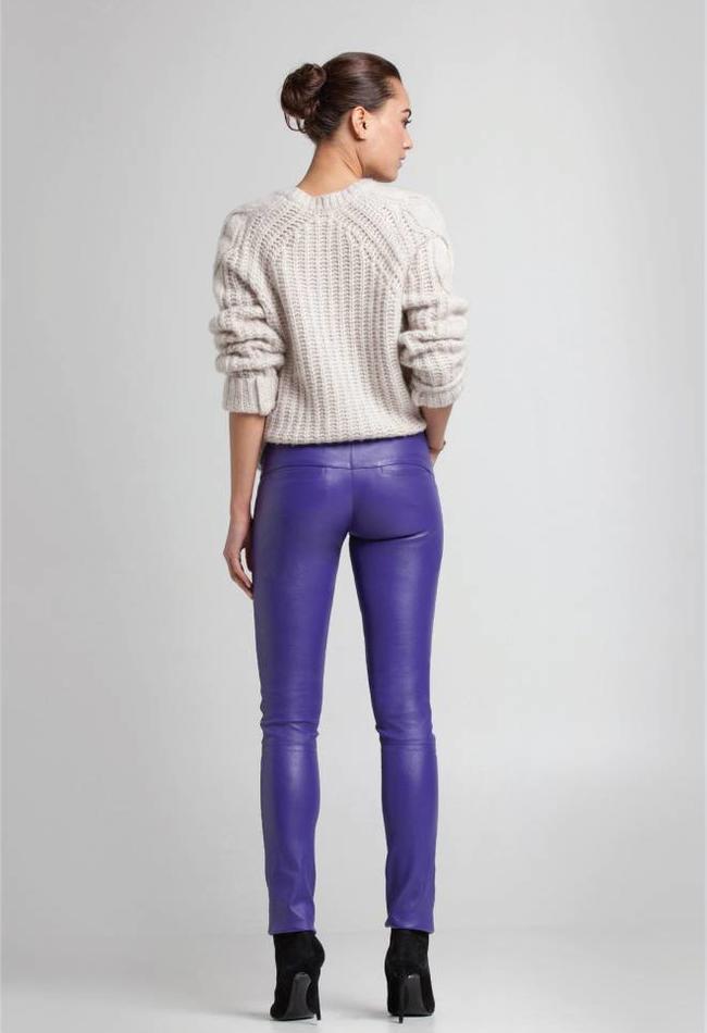 ZINGA Leather Real leather legging women purple | Vanessa 6695