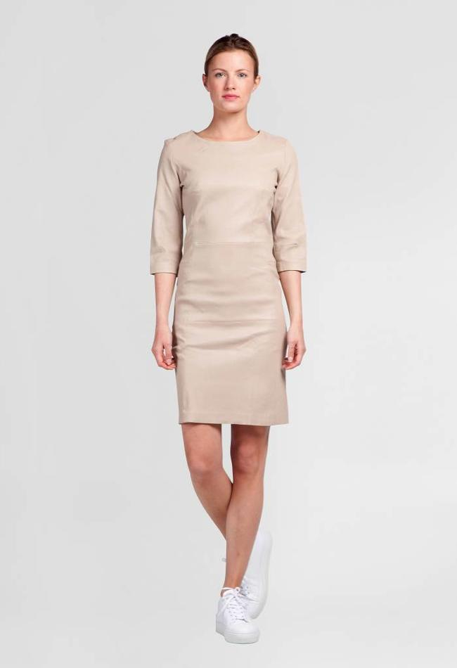 ZINGA Leather Dress real leather women ecru | Ava 6101