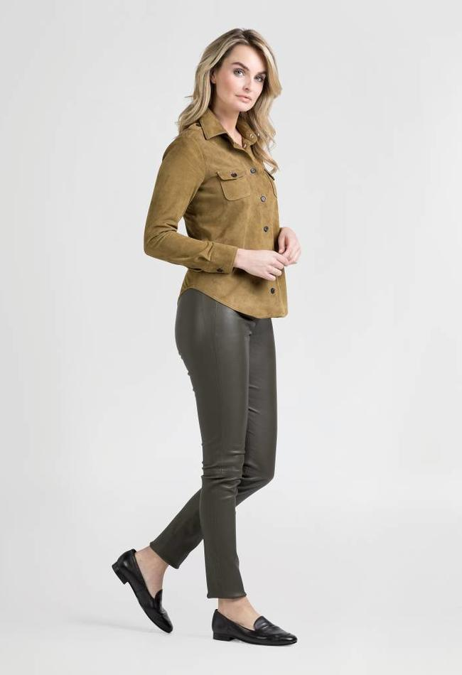 ZINGA Leather Real leather, suede blouse women green sand | Mimi 2600