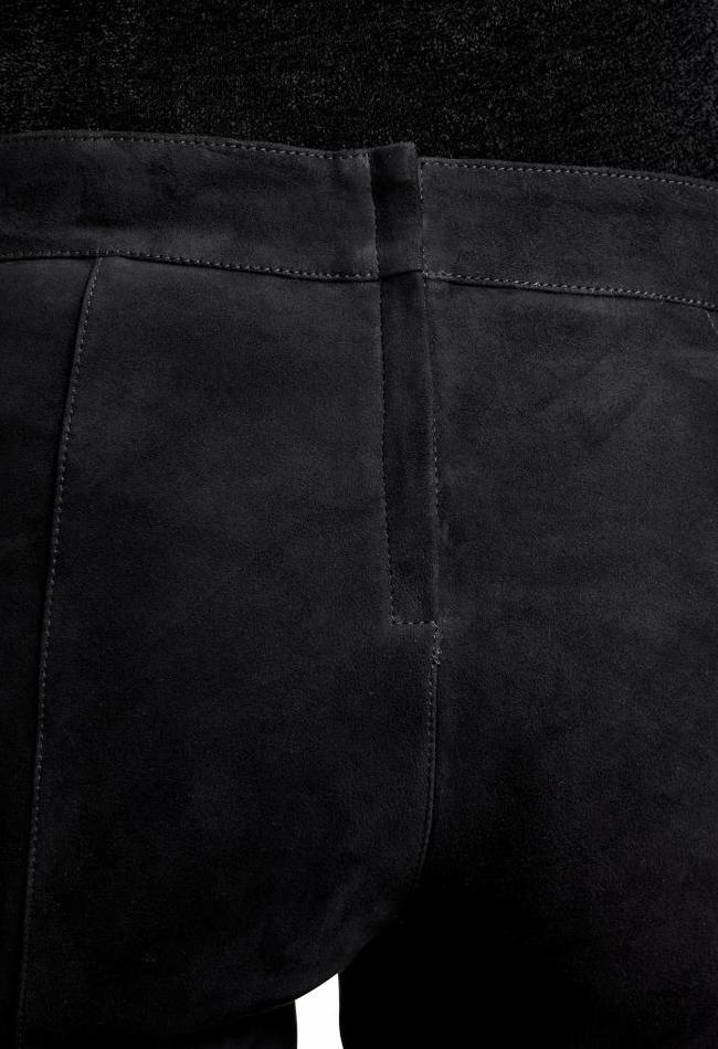 ZINGA Leather Real leather, suede pants women black | Birken 4999