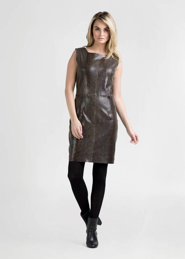ALLEGRA Army Green Python Dress