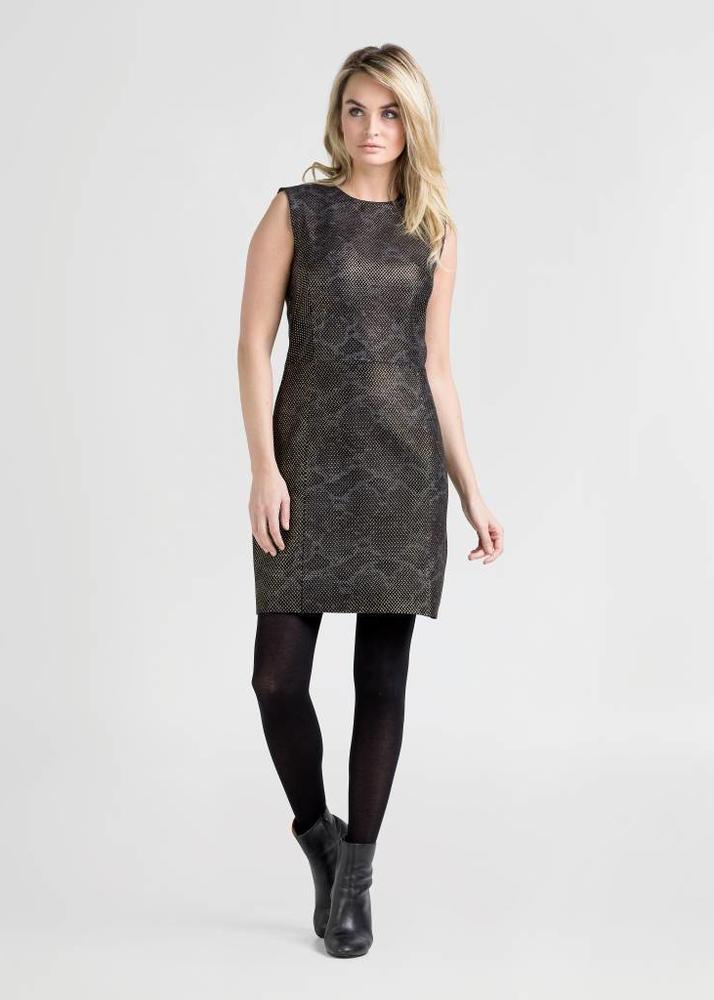 ALLEGRA Schwarzes Kleid mit Goldene Akzente