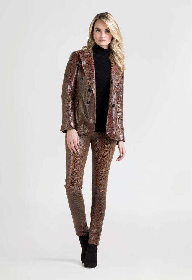 ZINGA Leather Echt leren python blazer dames bruin   Lauren 7116
