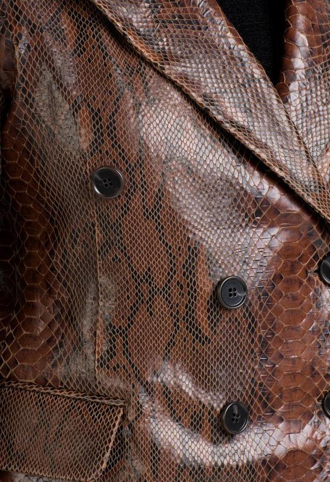 ZINGA Leather LEDERBLAZER FÜR DAMEN IN BRAUN MIT SCHLANGENLEDER-OPTIOPTIK   LAUREN 7116