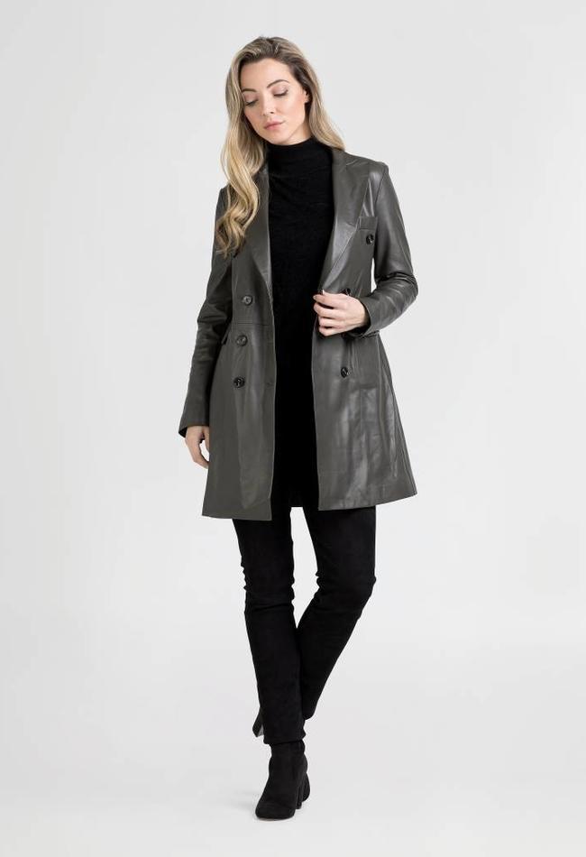 ZINGA Leather Real leather blazer women green | Helena 5820