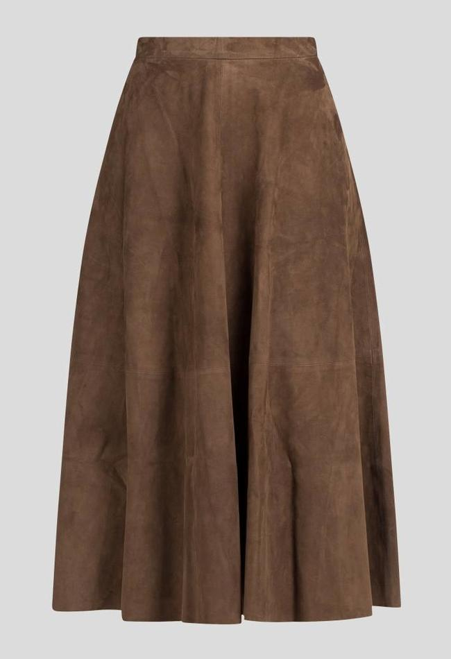 ZINGA Leather Real leather, suede long skirt woman brown | Rosa 2116