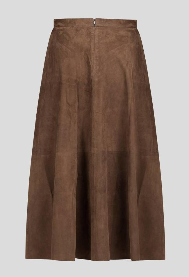 ZINGA Leather Echtes Leder, Wildleder langer Rock Frau braun   Rosa 2116