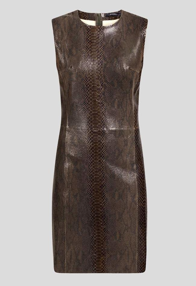ZINGA Leather ETUIKLEID LEDER IN GRÜN MIT SCHLANGEN-OPTIK | ALLEGRA 7820