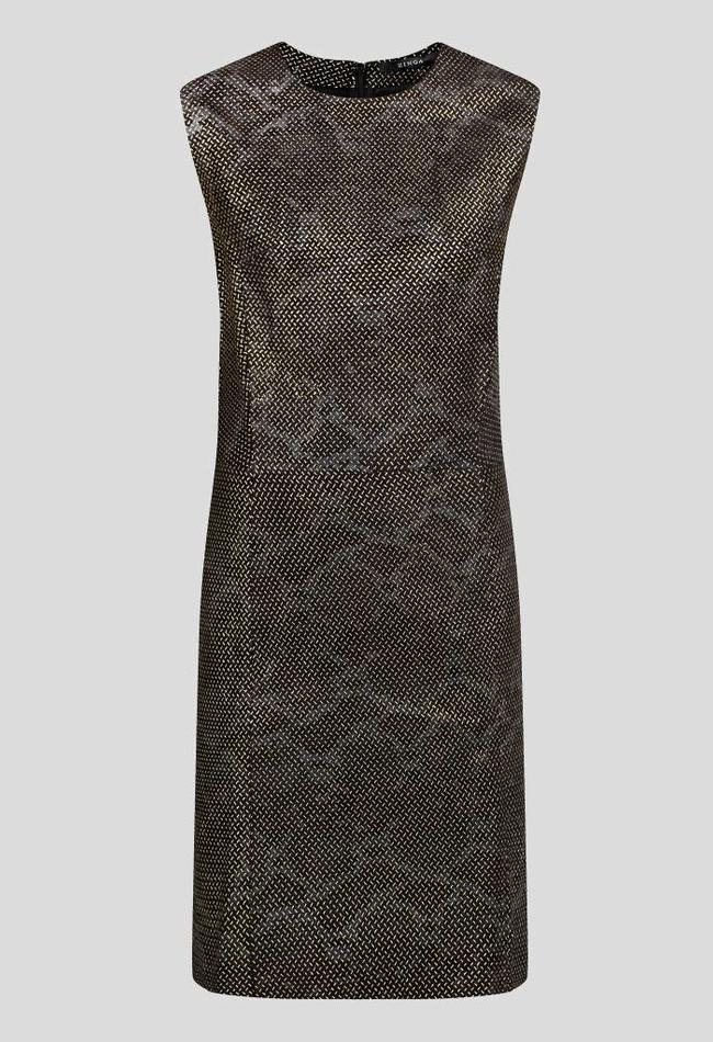 ZINGA Leather Jurk echt leer dames groen metallic | Allegra 3820