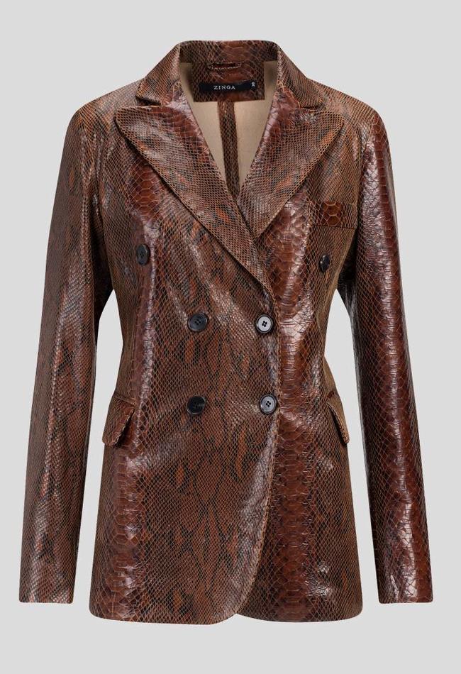 ZINGA Leather Real leather, python blazer women brown   Lauren 7116