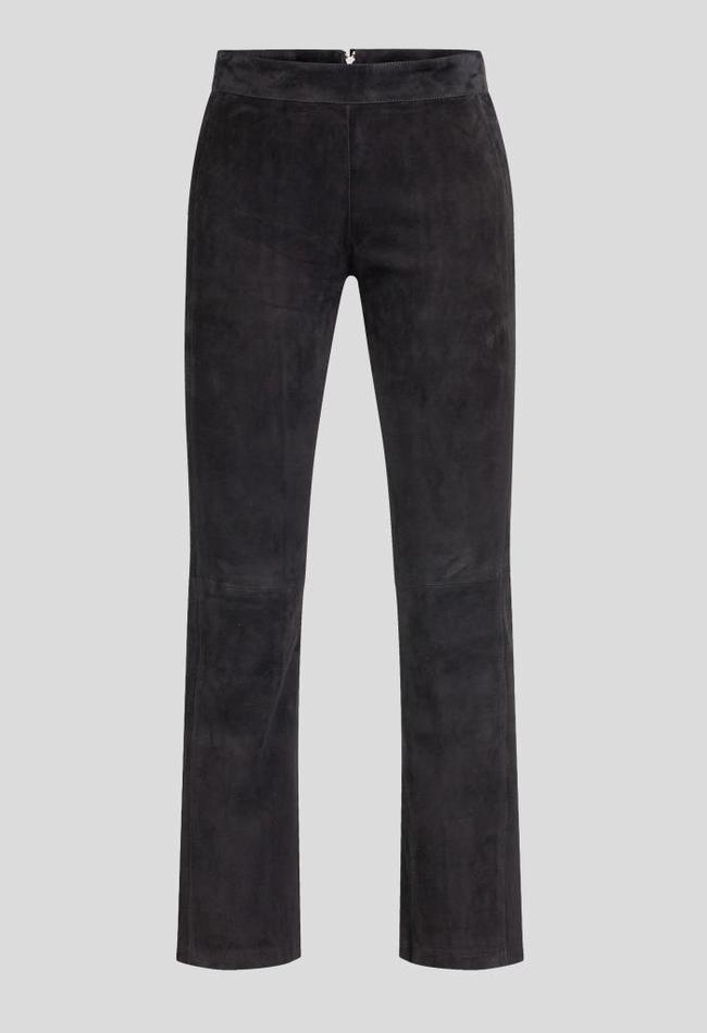 ZINGA Leather Echtes Leder, Wildlederhose Frauen schwarz | Birken 4999