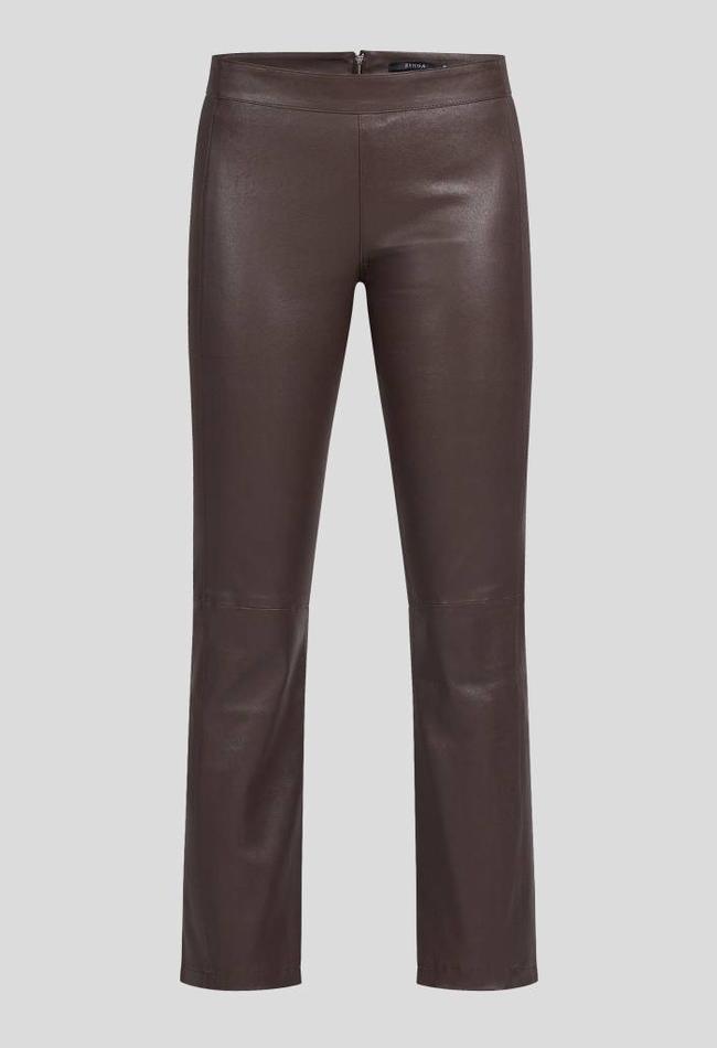 ZINGA Leather LEDER CROPPED PANTS FÜR DAMEN BRAUN AUS GLATTLEDER   BIRKEN 6116
