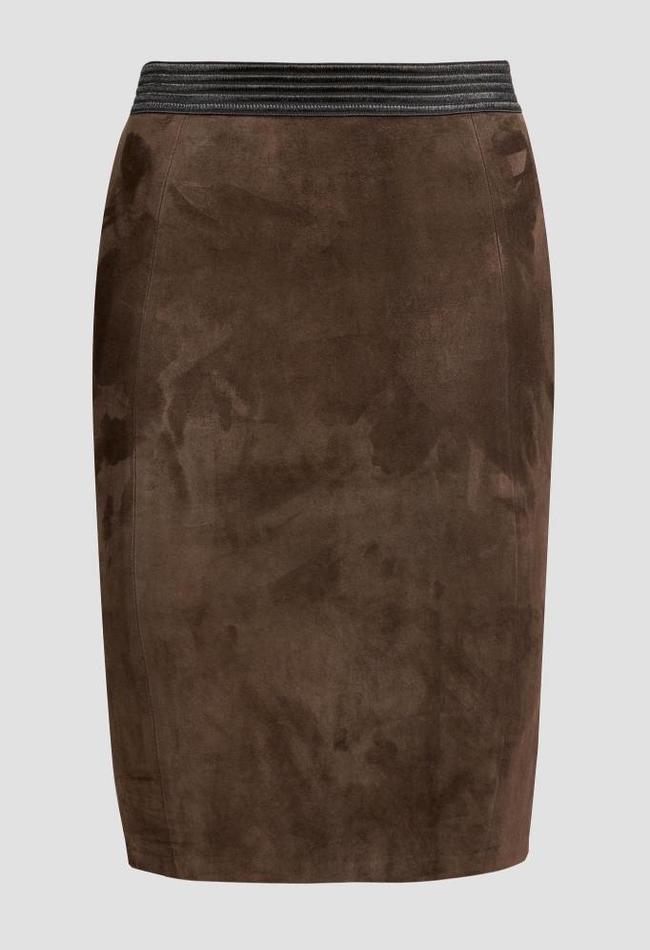 ZINGA Leather LEDER-BLEISTIFTROCK IN BRAUN AUS STRETCH-VELOURS | COCO 4116
