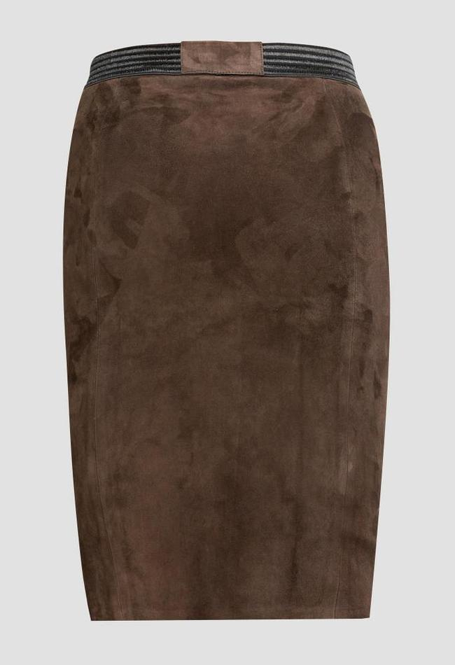 ZINGA Leather Real leather, suede pencil skirt women brown | Coco 4116