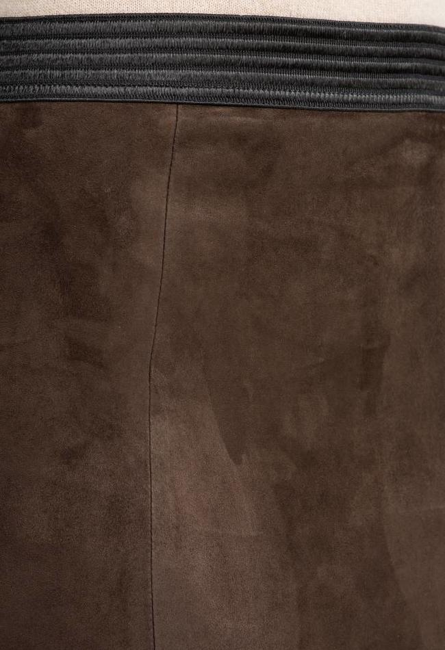 ZINGA Leather LEDERBLEISTIFTROCK IN BRAUN AUS STRETCH-VELOURS   COCO 4116