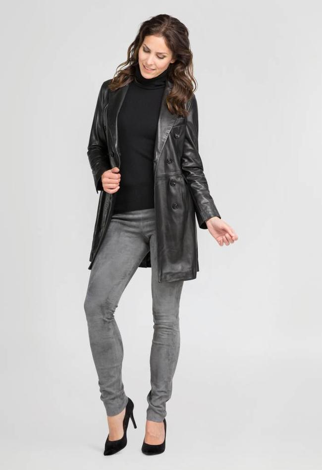 ZINGA Leather Real leather blazer women black   Helena 5999