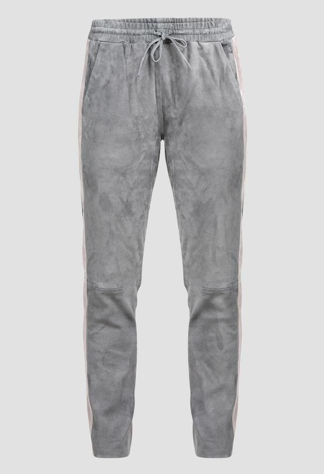 ZINGA Leather Boyfriend pants real leather, suede women gray | Evi 4940