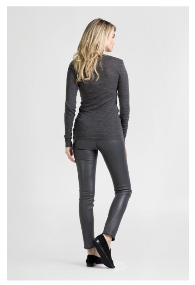 ZINGA Leather Echt leer legging dames donkergrijs | Uma 6350
