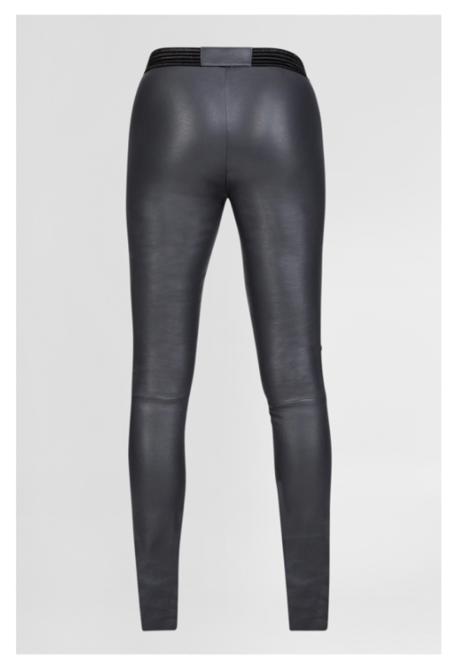 ZINGA Leather Echt leder leggings damen Dunkel Grau| Uma 6350