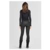 ZINGA Leather Echt Leder leggings Damen velour croco Schwarz  | Uma 3999