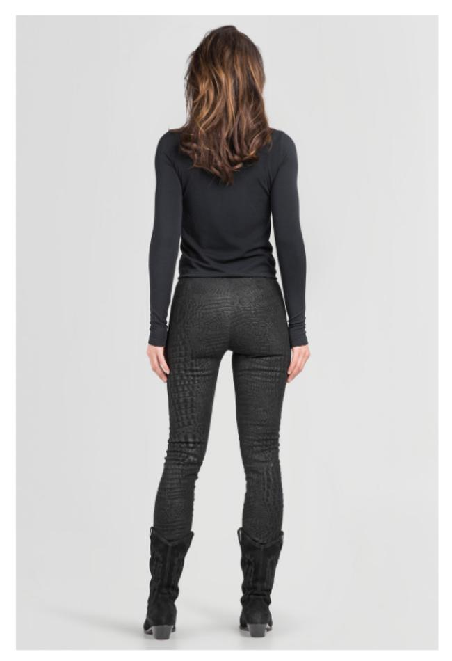 ZINGA Leather Real leather, suede woman legging Black Croco | Uma 3999