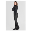 ZINGA Leather VELOURSLEDER LEGGINGS IN SCHWARZ AUS GEPRÄGTEM LAMMVELOURS | UMA 3999